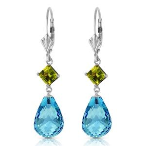 GOLD LEVER BACK EARRING WITH PERIDOT & BLUE TOPAZ